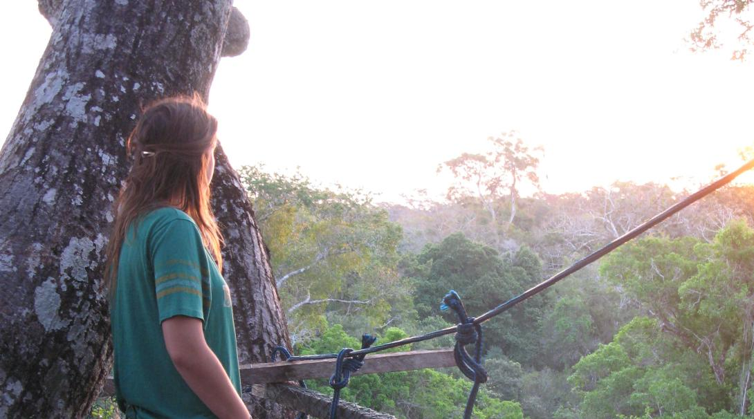 A conservation alternative spring break volunteer sits on the canopy walkway in Peru.
